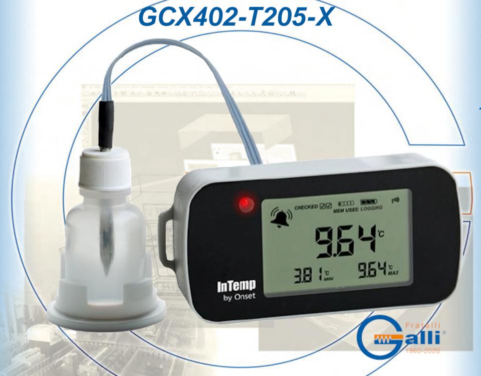 Galli-DataLogger-GCX402-T205-X-Monitoraggio Temperatura Frigor-Freezers-Bagni-Stufe-Incubatori-Forni
